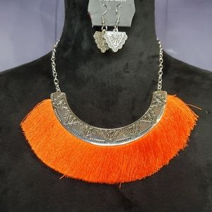 Orange Fringe Necklace Set